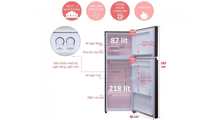 Tủ lạnh Toshiba MG36VUBZ(XB) đen 305L Inverter