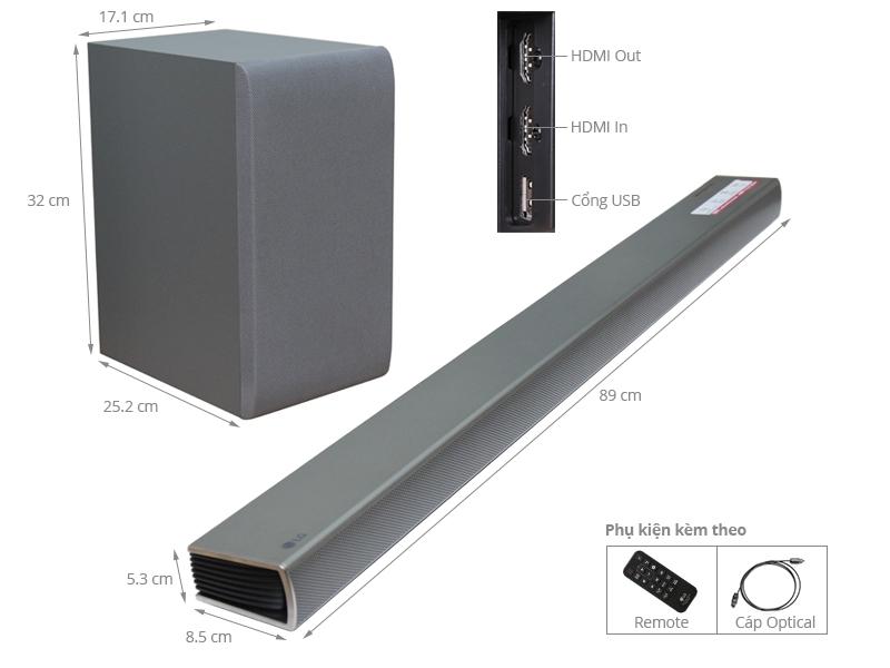 Thông số kỹ thuật Loa Soundbar 2.1 LG SH5