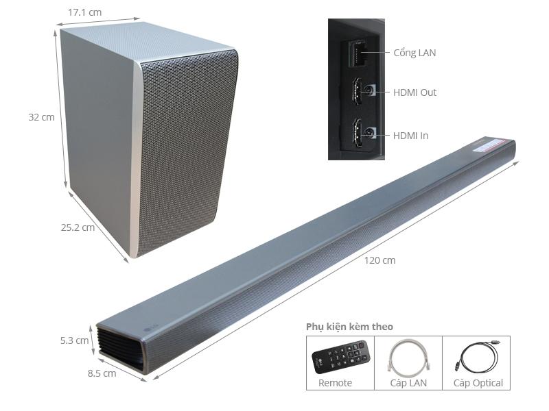 Thông số kỹ thuật Loa Soundbar 4.1 LG SH8