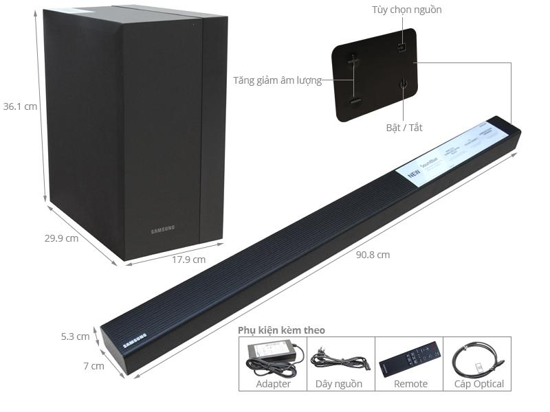 Thông số kỹ thuật Loa Soundbar 2.1 Samsung HW-K450/XV