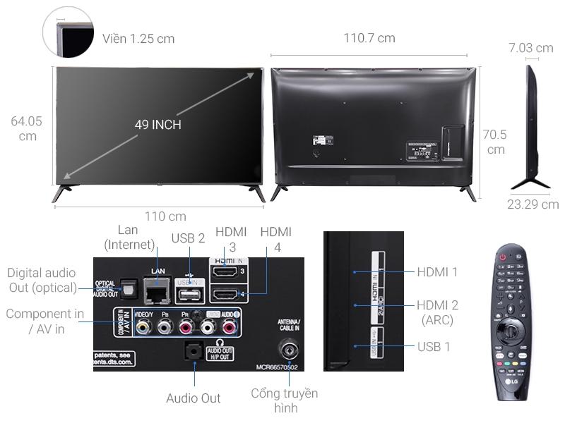 Thông số kỹ thuật Smart Tivi LG 49 inch  49UJ652T