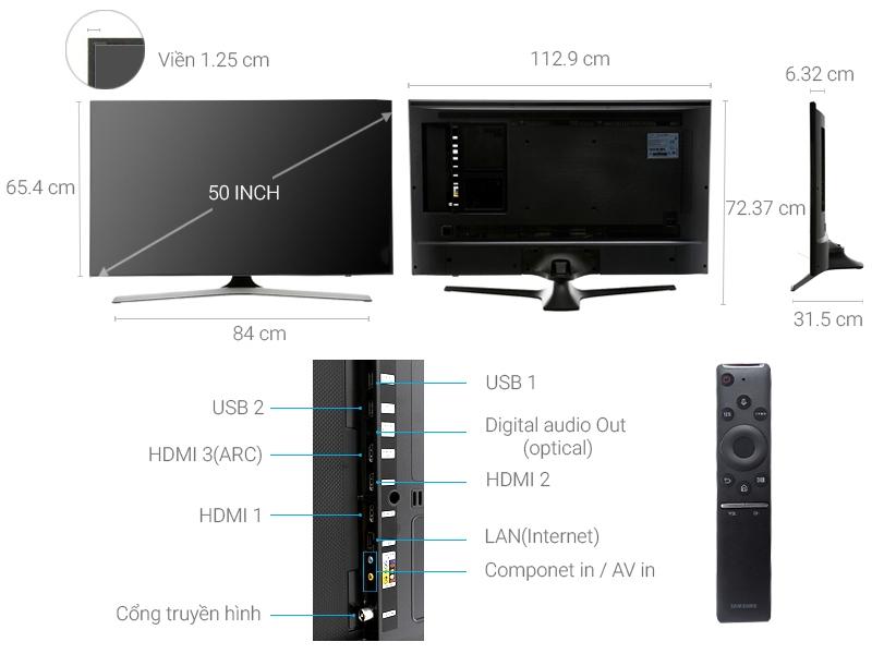 Thông số kỹ thuật Smart Tivi Samsung 50 inch UA50MU6100