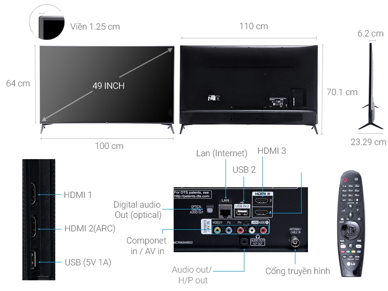 Thông số kỹ thuật Smart Tivi LG 49 inch 49UJ750T