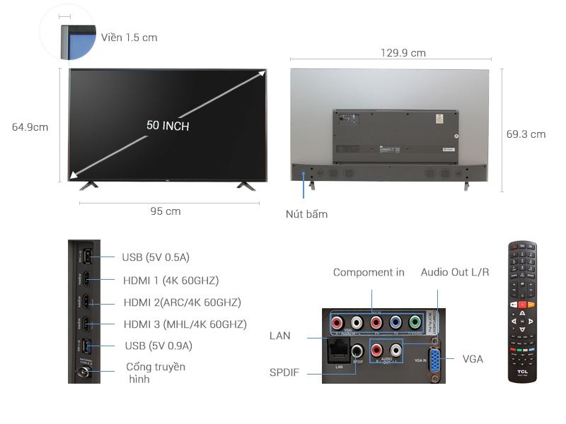 Thông số kỹ thuật Smart Tivi TCL 50 inch L50C1-UF