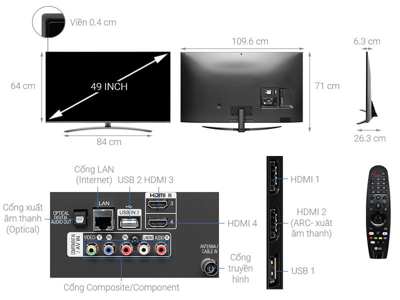 Thông số kỹ thuật Smart Tivi NanoCell LG 4K 49 inch 49SM8100PTA