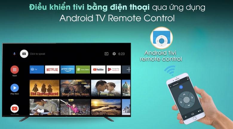 Android Tivi OLED Sony 4K 65 inch KD-65A8H - Điều khiển tivi bằng điện thoại với ứng dụng Android TV Remote Control
