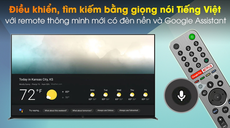 Android Tivi Sony 8K 85 inch KD-85Z8H - Remote thông minh