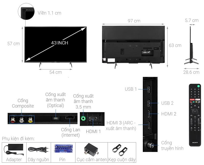 Thông số kỹ thuật Android Tivi Sony 4K 43 inch KD-43X7500H