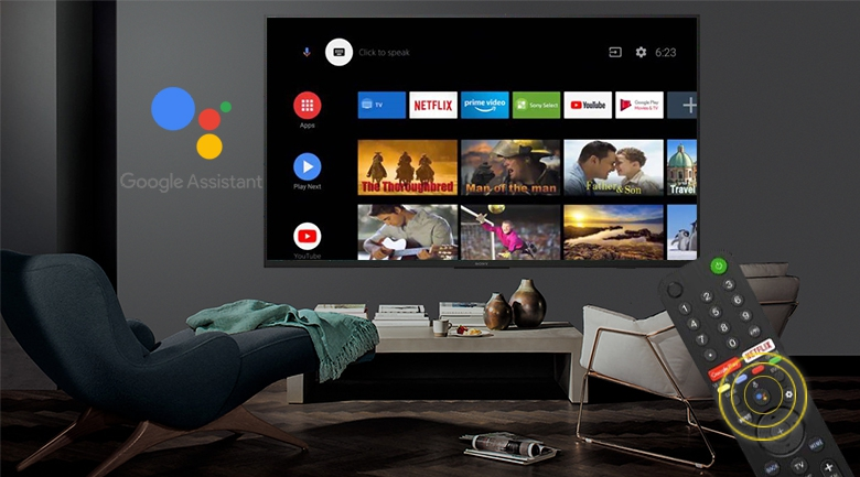 Android Tivi Sony 4K 43 inch KD-43X7500H - Remote thông minh