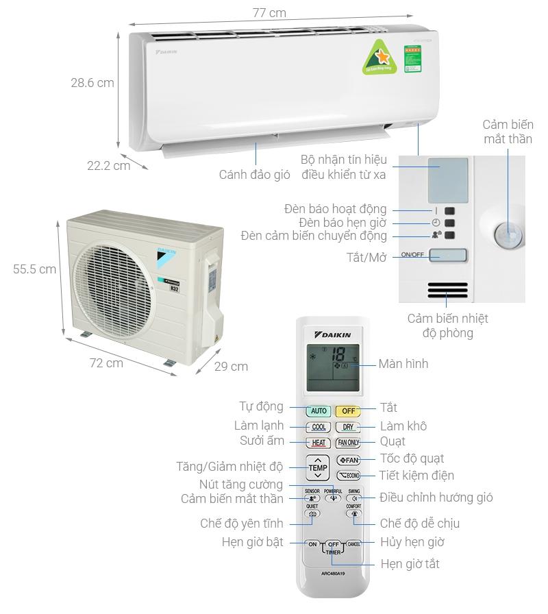 Thông số kỹ thuật Máy lạnh 2 chiều Daikin Inverter 1.5 HP FTHF35RAVMV