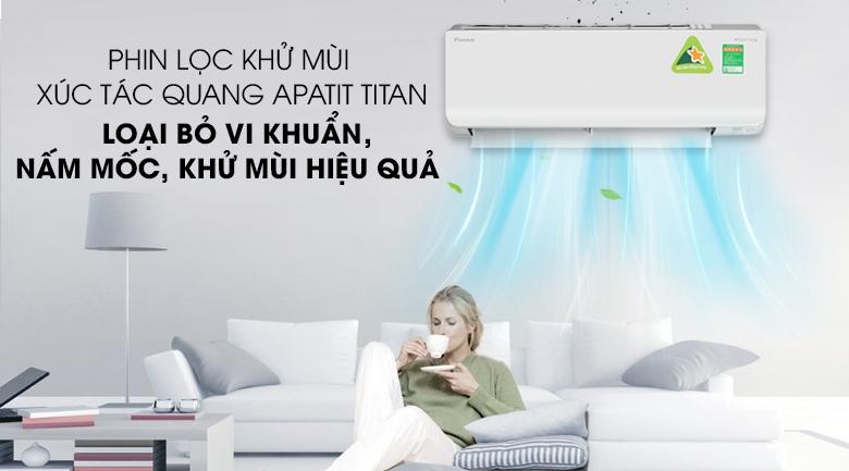 Phin lọc khử mùi xúc tác quang Apatit Titan - Máy lạnh 2 chiều Daikin Inverter 1.5 HP FTHF35RAVMV
