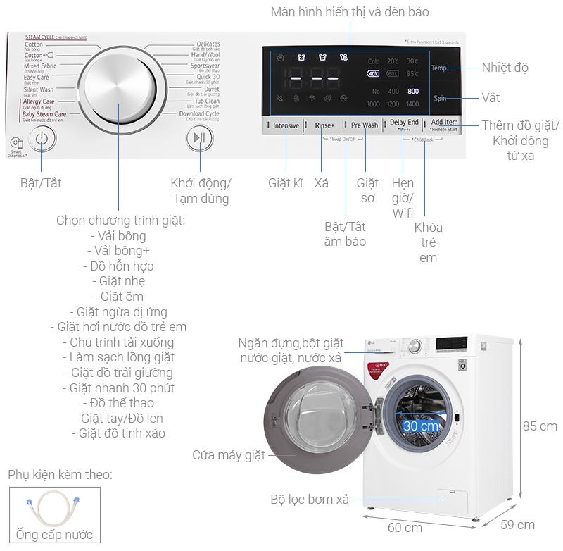 Thông số kỹ thuật Máy giặt LG Inverter 8.5 kg FV1408S4W