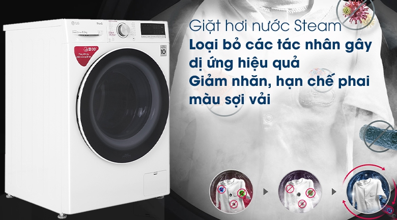 Máy giặt LG Inverter 8.5 kg FV1408S4W - Giặt hơi nước Steam