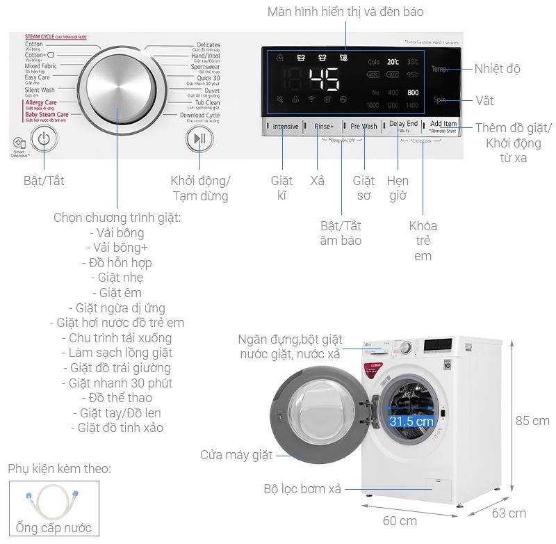 Thông số kỹ thuật Máy giặt LG Inverter 9 kg FV1409S4W