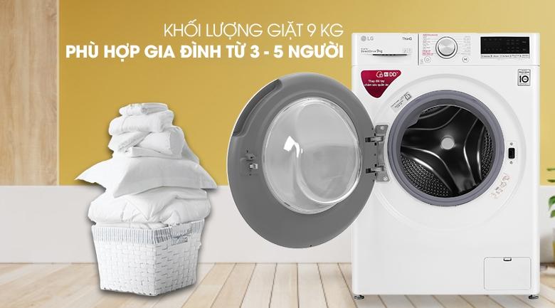 Máy giặt LG Inverter 9 kg FV1409S4W - Khối lượng