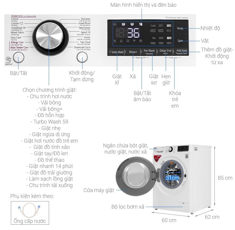 Thông số kỹ thuật Máy giặt LG Inverter 9 kg FV1409S2W