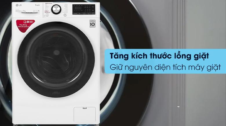 Máy giặt LG FV1409S2W - Tăng kích thước lồng giặt