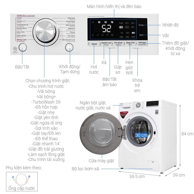 Thông số kỹ thuật Máy giặt LG Inverter 10.5 kg FV1450S3W