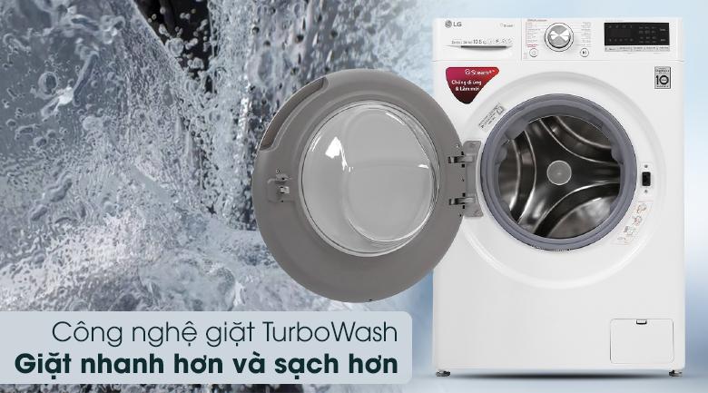 Máy giặt LG Inverter 10.5 kg FV1450S3W - Turbo Wash