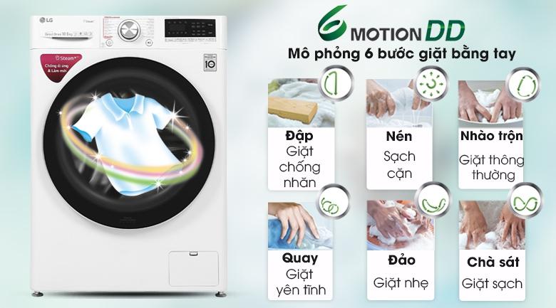 Máy giặt LG Inverter 10.5 kg FV1450S3W - 6 motionDD