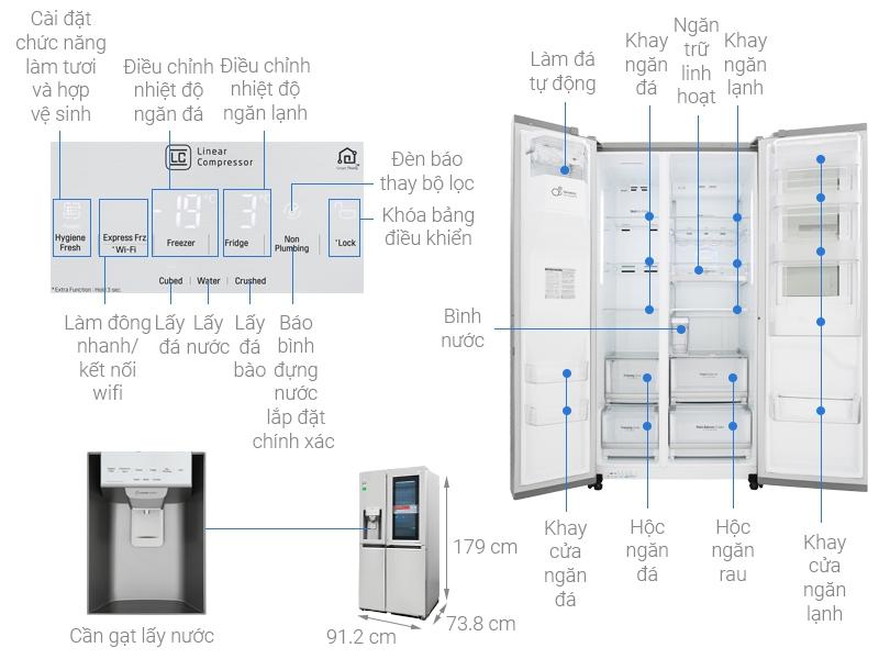 Thông số kỹ thuật Tủ lạnh LG Inverter InstaView Door-in-Door 601 lít GR-X247JS