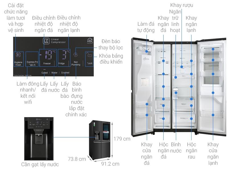 Thông số kỹ thuật Tủ lạnh LG Inverter InstaView Door-in-Door 601 lít GR-X247MC