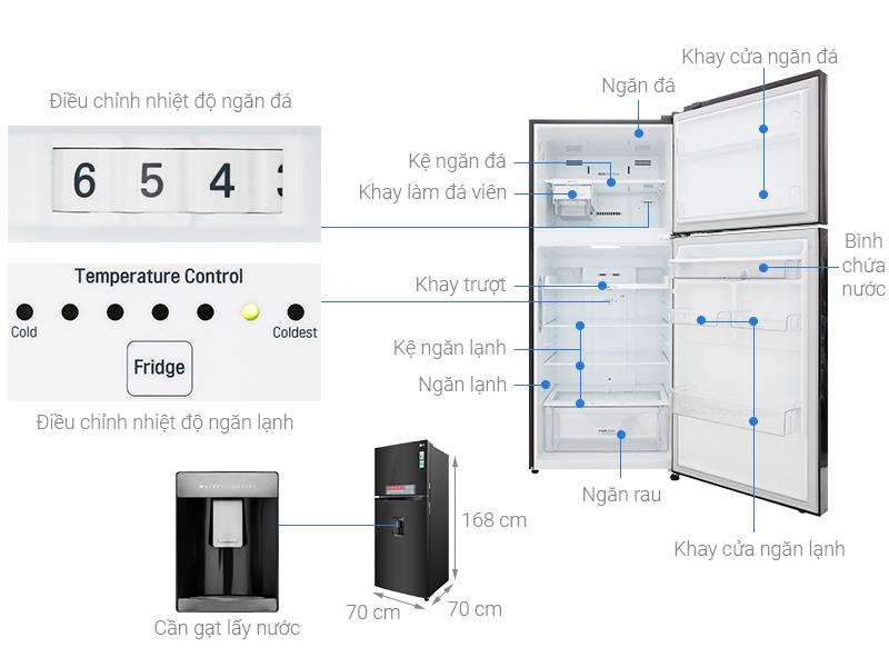Thông số kỹ thuật Tủ lạnh LG Inverter 393 lít GN-D422BL