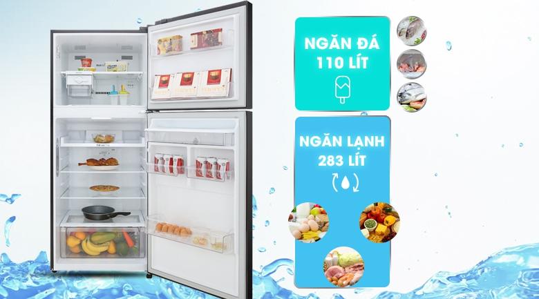 Tủ lạnh LG Inverter 393 lít GN-D422BL - Dung tích 393 lít, phù hợp gia đình 3 – 4 người