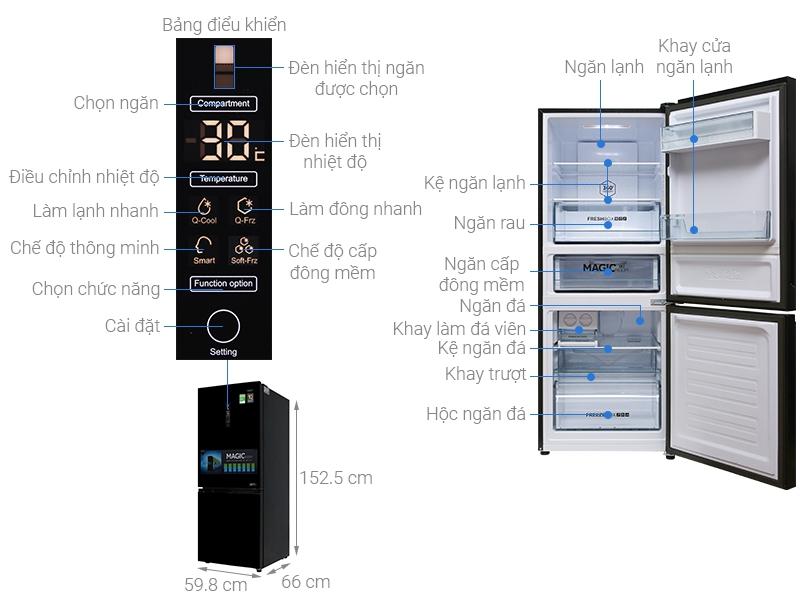 Thông số kỹ thuật Tủ lạnh Aqua Inverter 260 lít AQR-I298EB BS